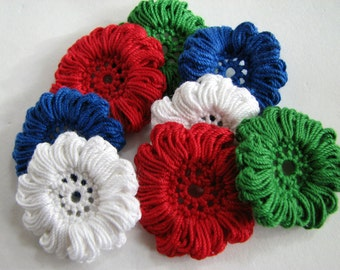 Crochet Flower Appliques - Christmas Shades, Red, White, Green & Blue - 8 Total