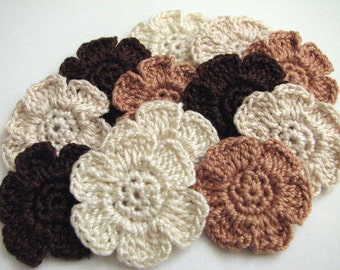 Crochet Flower Appliques - Pretty, Neutral Colors - 12