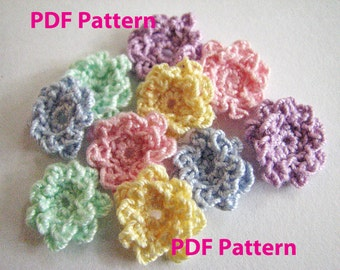 Crochet Flower Pattern - Tiny Ruffle Flower - Instant Download