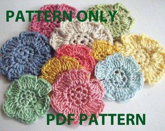 Crochet Flower Pattern - Simple, Flat, Six Petal Flower - Instant Download