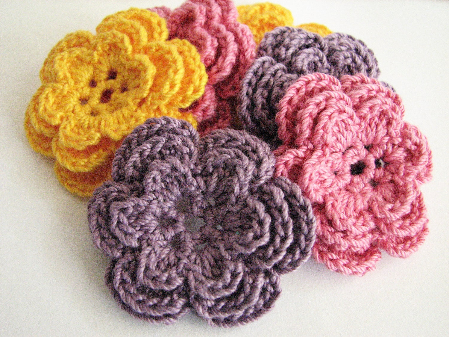 Crochet Yellow Flower Pattern : Crochet Flower Appliques 6 Handmade Three Layer by LMCrochet