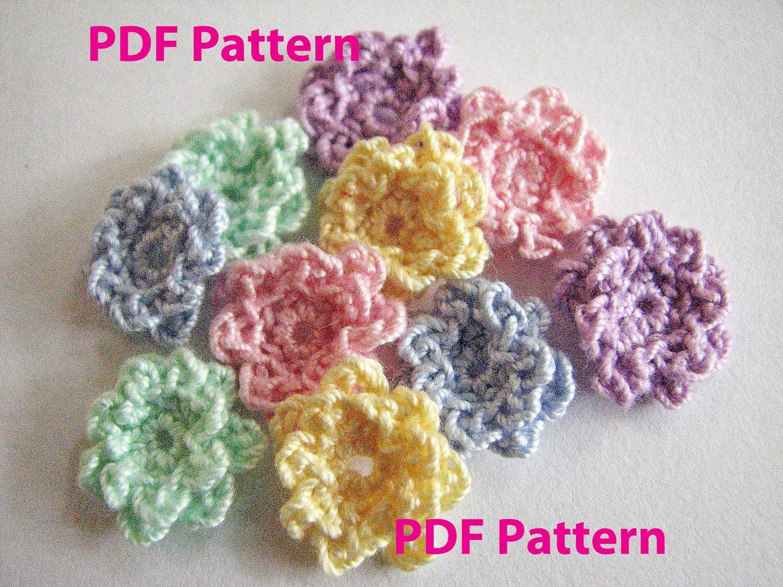 Crochet Ruffle Flower Pattern : Crochet Flower Pattern Tiny Ruffle Flower Instant Download