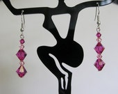 Pretty Pinks Swarovski Crystal dangle Earrings and Sterling Silver