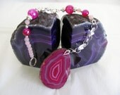 Fuschia Pink Banded Agate SUNCATCHER accented with crystals rose quartz and faceted beads