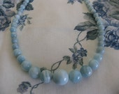 Baby Blues - Beautiful Aquamarine graduated semiprecious gemstone Necklace