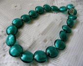 Teal Blue Lampworked Glass Bead strand - puffed coins