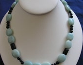 Sea-foam green AMAZONITE and black Onyx Necklace