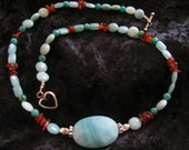 Sea-foam green AMAZONITE Agate and AMBER Necklace