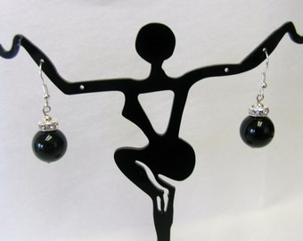 Black Onyx and Crystal accent with Sterling Silver ear hooks Earrings