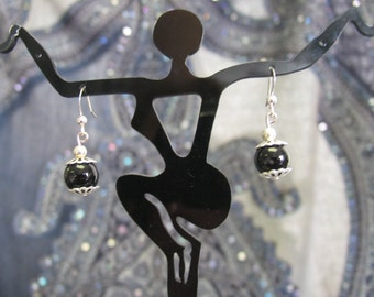 Black Onyx balls with ornate Sterling Silver accented Earrings