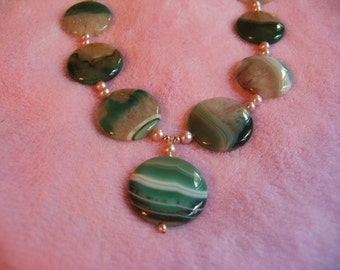 Green Agate Necklace natural semiprecious gemstones and Fresh Water Pearls