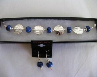 Lapis Lazuli and Sterling Silver bracelet & earrings set - Southwestern style OOAK - great gift idea