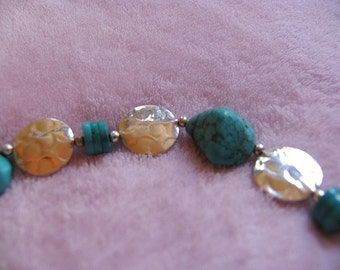 Natural TURQUOISE nuggets and Sterling Silver coins bracelet - southwestern style OOAK - chunky statement accessory