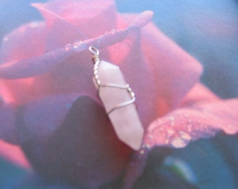 Silver wire wrapped ROSE QUARTZ point Pendant Necklace natural semiprecious gemstone - Stone of Love - emotional heart healing pink