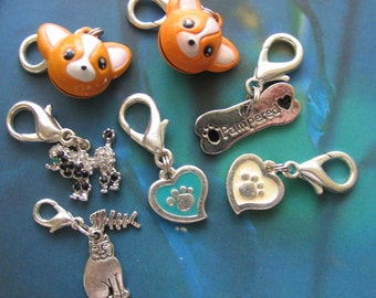 7 assorted PET metal charms - zipper pulls charm bracelets backpack accessories pet collar jewelry - great gifts