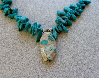 Blue TURQUOISE necklace with Sterling Silver stone of peace and tranquility aids calming choker