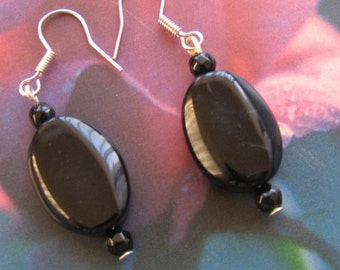 BLACK ONYX dangle Earrings - Sterling Silver hooks - semiprecious natural gemstone healing jewelry