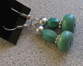 TURQUOISE dangling Earrings with Sterling Silver - semiprecious gemstones - sea foam green Stone of Peace & healing