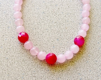"18 1/2"" Rose Quartz and Fuchsia Jade Necklace - semiprecious gemstone hot pink - Good Luck Dream stone healing"