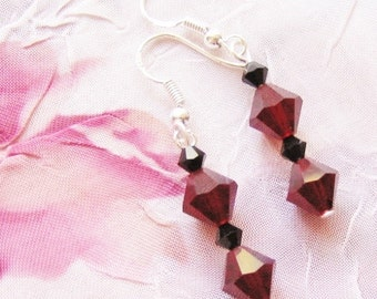 Sexy Red and Black Swarovski Crystal with Sterling Silver earrings - dark gothic wiccan reiki renaissance witch queen