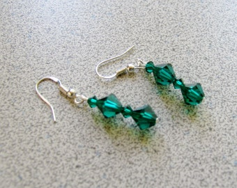 Sexy Swarovski Crystal Earrings with Sterling Silver earrings - hunter green forest fantasy green man fairy faire faerie princess