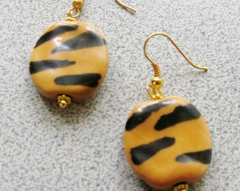 TIGER print EARRINGS - Milifori clay earrings with gold plated hooks for pierced ears animal print zebra