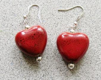 Red Puffed HEART shape EARRINGS - Milifori clay earrings with sterling silver for pierced ears