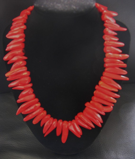 HOT Tamales Red Horn Coral Necklace with Sterling Silver beads and clasp Protects from DEPRESSION aids with HEARTBURN