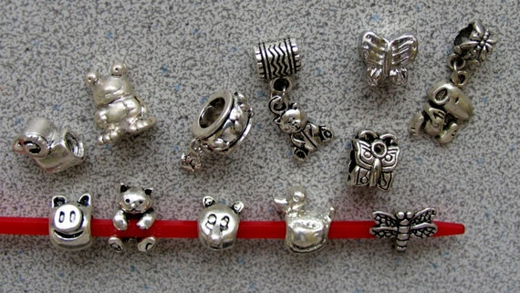 12 ANIMALS - assorted Pandora style pewter silver beads - Snoopy frog bear pig butterfly dragonfly duck ram kitty paw