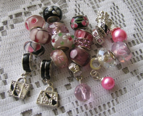 20 PANDORA style beads & FREE Bracelet - lampworked glass crystal pearl - Retail value - 110.00 and up