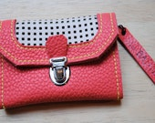 coral and white leather wallet