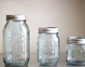 set of 3 color tinted mason jars-blue, grey, blue grey