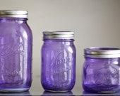 set of 3 Purple Rain color tinted mason jars