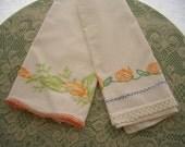 Vintage Pillowcases Embroidered Orange Florals 2 Pieces