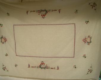 Vintage Tablecloth Linen Embroidered Dutch Motif