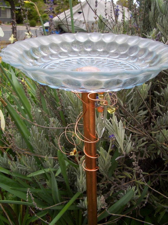Upcycled Glass Plate Birdfeeder Suncatcher Votive Holder Yard