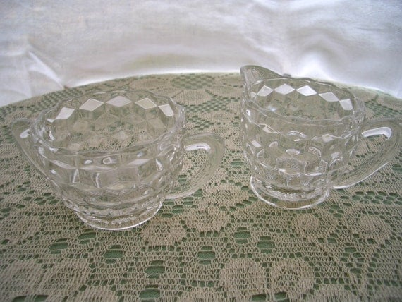Vintage Cream and Sugar Cube Pattern, Fostoria American,Depression Glass