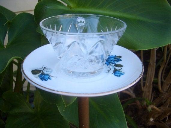 Tea Cup Birdfeeder Upcycled Yard Ornament