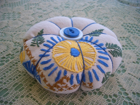 Pincushion Flower Vintage Fabric and Vintage Button Accents-Free Shipping