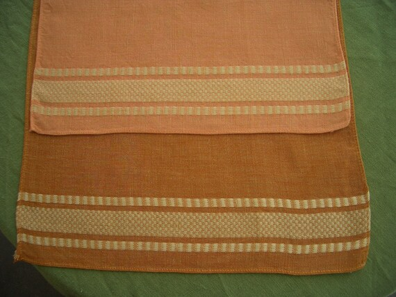 Vintage Linen Towels in Caramel and Coral 2 Pieces