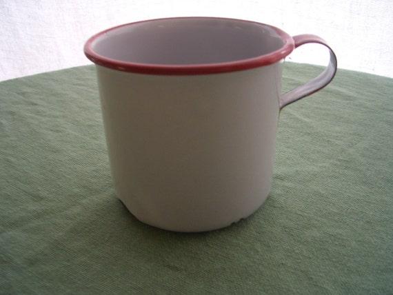 Vintage Enamelware Mug Cup Red Trim Chippy