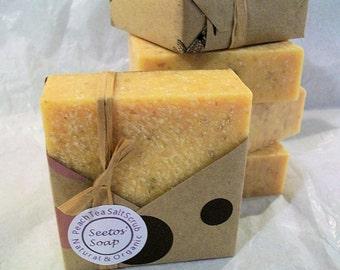 Southern Peach Tea  Vegan Olive Oil Soap Sea Salt Scrub Bar - Organic Ingredients