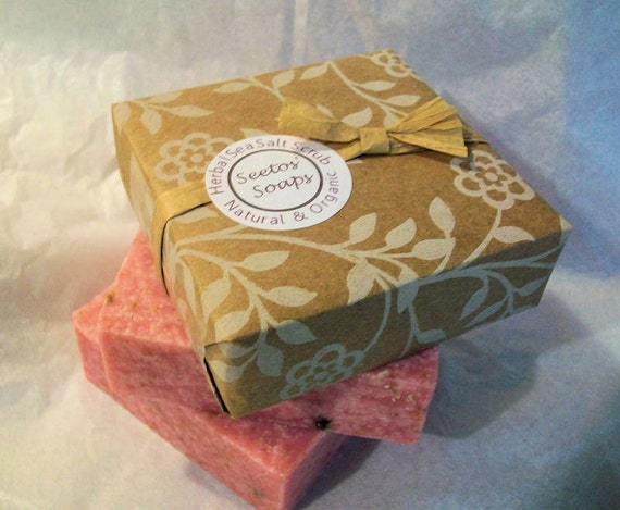 Rose Vegan Olive Oil Soap Sea Salt Scrub Bar - Organic Ingredients 5 oz. bar