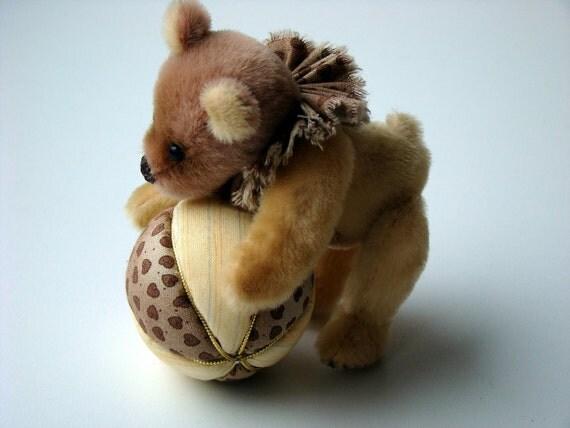 Teddy Bear Gilles, miniature, ooak, sewn from soft fantastic sassy fabric.