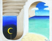 """DAY AND NIGHT - 16""""x20"""" Original Surreal Painting Blue Landscape Fine Art"""