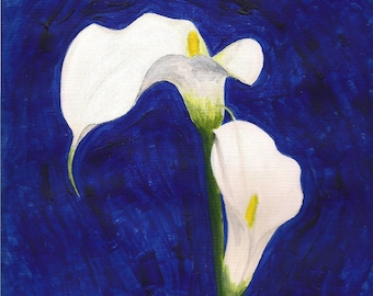 """CALLA LILIES - 9""""x12"""" Original Surreal Painting Blue and White Fine Art"""