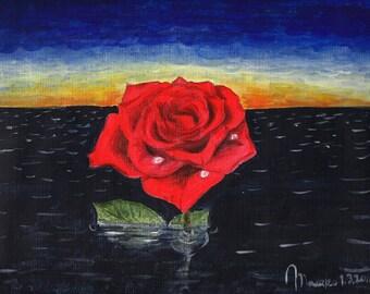 "Rose In The Night Of Ocean - 9""x12"" Original Surreal Painting Red Rose Fine Art"