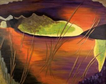 TREASURE No. 2 -  Original Painting 16x20 Orange Surreal Abstract Fine Art