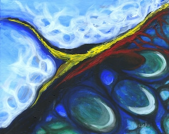 """SHIFT - 16""""x20"""" Original Painting Blue Surreal Abstract Fine Art"""