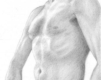 "Nude Study 005 ""WILL"" - Male Nude Original Pencil Drawing 8""x10"" Fine Art Black and White"